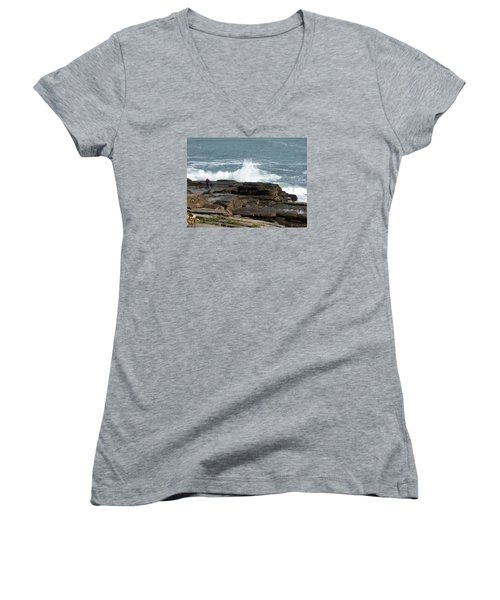 Wave Hitting Rock Women's V-Neck T-Shirt (Junior Cut) by Catherine Gagne