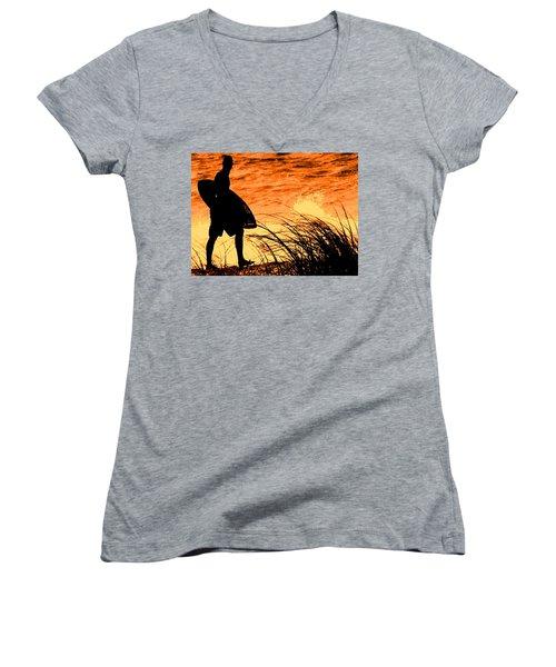 Women's V-Neck T-Shirt (Junior Cut) featuring the photograph Wave Search by Ian  MacDonald