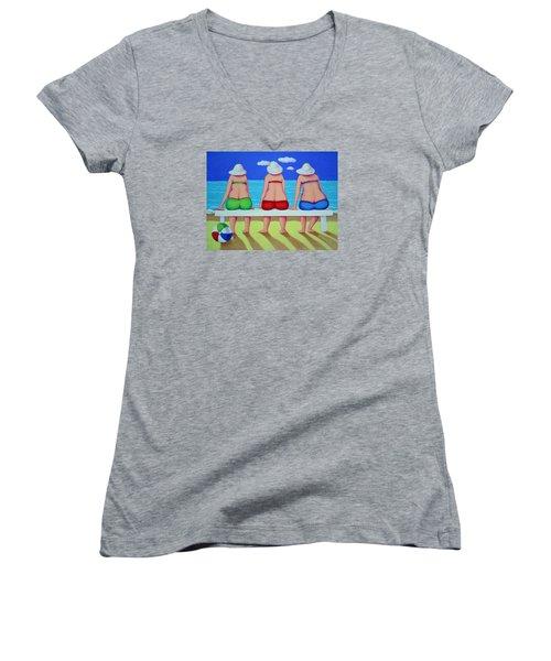 Wave Watch - Beach Women's V-Neck T-Shirt (Junior Cut) by Rebecca Korpita
