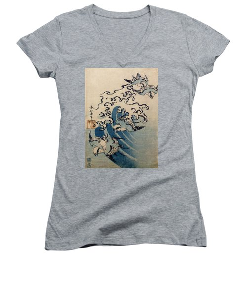 Waves And Birds Women's V-Neck T-Shirt (Junior Cut) by Katsushika Hokusai