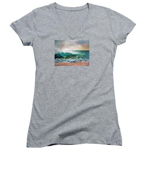 Waves Women's V-Neck T-Shirt (Junior Cut)