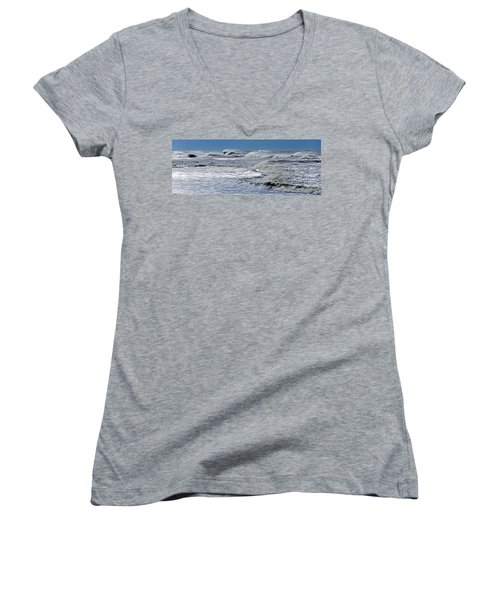 Waves Off Sandfiddler Rd Corolla Nc Women's V-Neck T-Shirt (Junior Cut) by Greg Reed