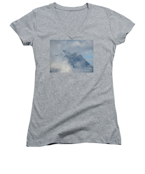 Women's V-Neck T-Shirt (Junior Cut) featuring the photograph Way Up Here by Greg Patzer