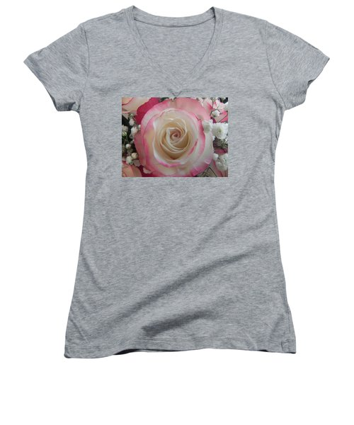 Women's V-Neck T-Shirt (Junior Cut) featuring the photograph Wedding Bouquet by Deb Halloran