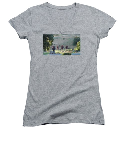 Women's V-Neck T-Shirt (Junior Cut) featuring the photograph Wedding Grounds by Shawn Marlow