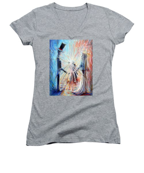 Women's V-Neck T-Shirt (Junior Cut) featuring the painting Wedding Photographer by Heather Calderon