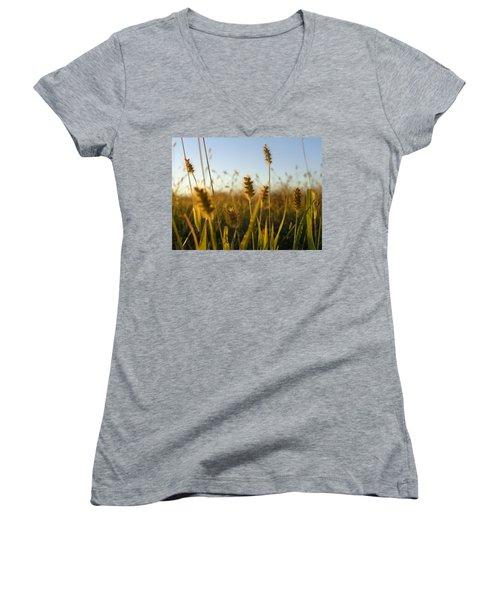 Women's V-Neck T-Shirt (Junior Cut) featuring the photograph Weeds by Joseph Skompski