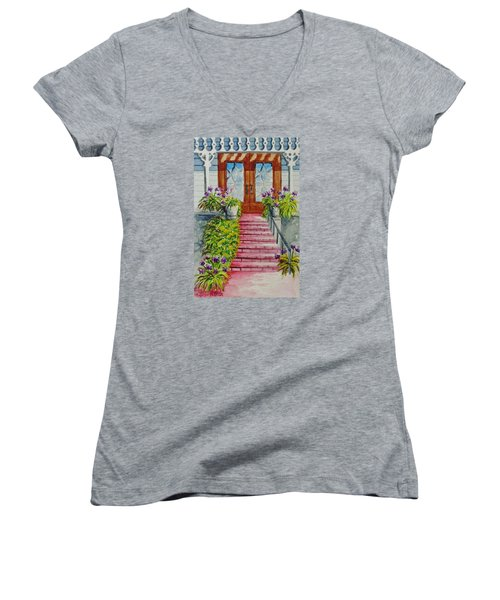 Women's V-Neck T-Shirt (Junior Cut) featuring the painting Welcome by Katherine Young-Beck