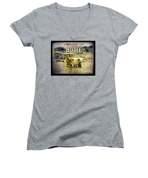 Welcome To Bodie California Women's V-Neck (Athletic Fit)