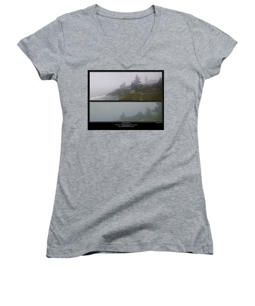 Women's V-Neck T-Shirt (Junior Cut) featuring the photograph We'll Keep The Light On For You by Marty Saccone