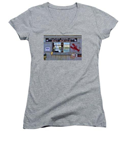 Wellfleet Harbor Thru The Window Women's V-Neck T-Shirt (Junior Cut) by Allen Beatty