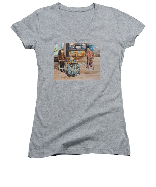 We're Still Here Women's V-Neck T-Shirt (Junior Cut) by Esther Newman-Cohen