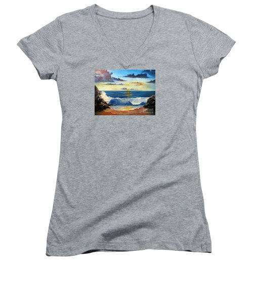 Women's V-Neck T-Shirt (Junior Cut) featuring the painting West Coast Sunset by Lee Piper