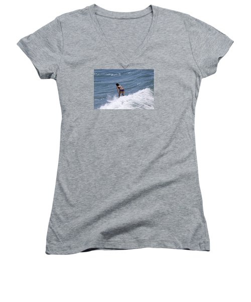 Women's V-Neck T-Shirt (Junior Cut) featuring the photograph West Coast Surfer Girl by Duncan Selby