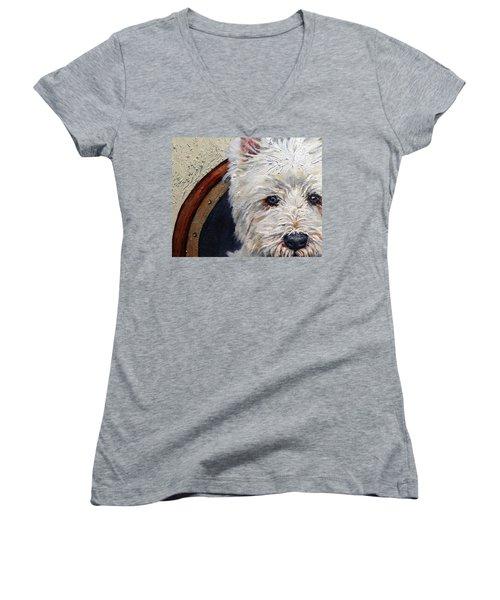 West Highland Terrier Dog Portrait Women's V-Neck (Athletic Fit)