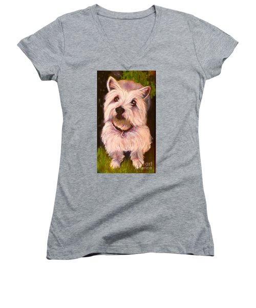 West Highland Terrier Reporting For Duty Women's V-Neck (Athletic Fit)