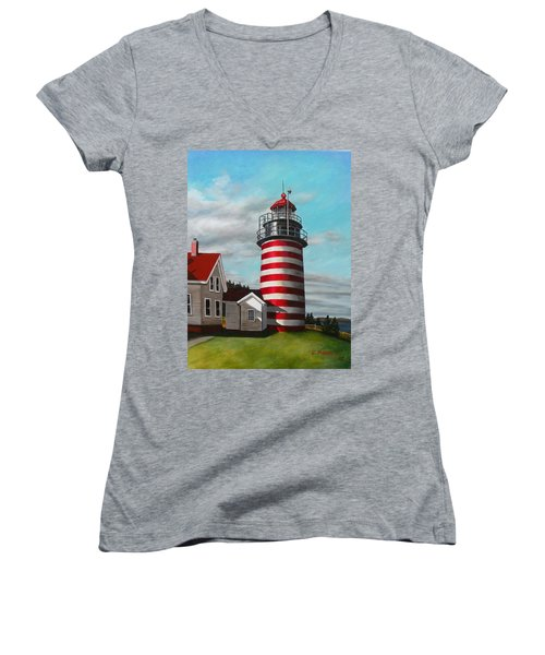 West Quoddy Head Lighthouse Women's V-Neck T-Shirt