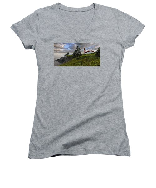 West Quoddy Head Lighthouse Panorama Women's V-Neck (Athletic Fit)