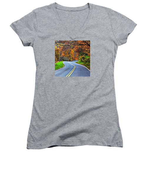 West Virginia Curves 2 Women's V-Neck T-Shirt (Junior Cut) by Steve Harrington