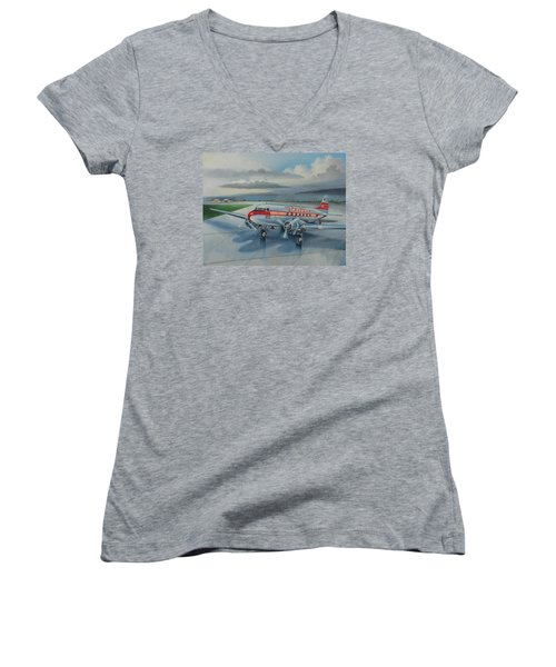 Western Airlines Dc-3 Women's V-Neck T-Shirt