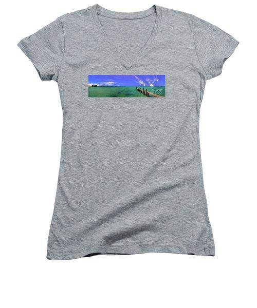 Women's V-Neck T-Shirt (Junior Cut) featuring the photograph Western Australia Busselton Jetty by David Zanzinger