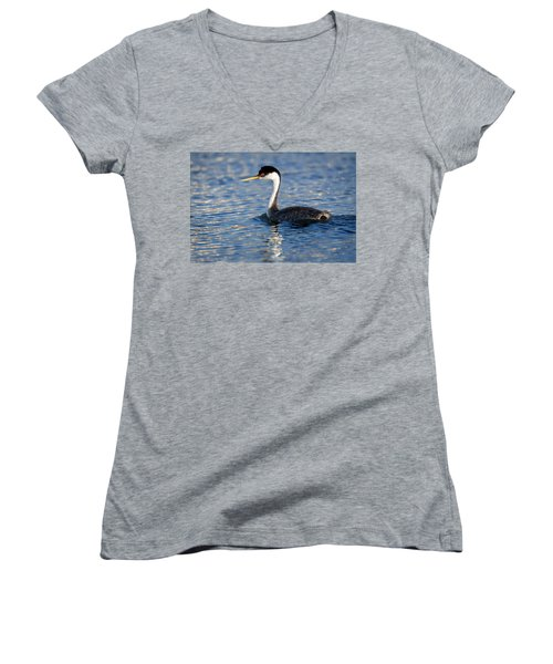 Women's V-Neck T-Shirt (Junior Cut) featuring the photograph Western Grebe by Jack Bell