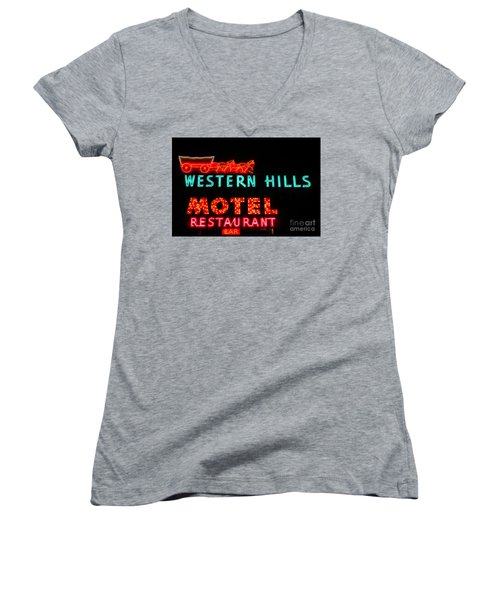 Women's V-Neck T-Shirt (Junior Cut) featuring the photograph Western Hills Motel Sign by Sue Smith