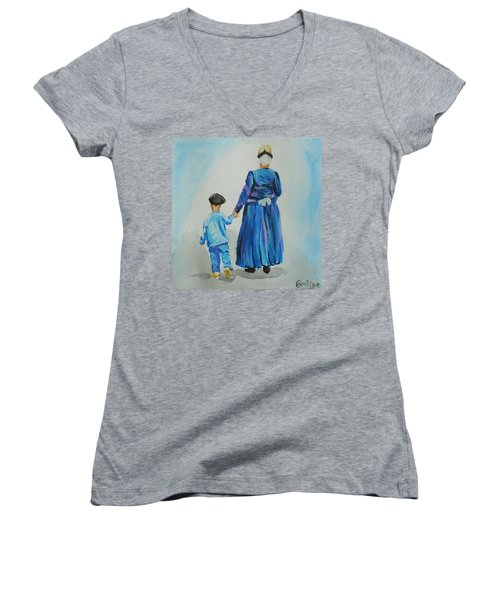 Westfriese Woman And Boy Women's V-Neck T-Shirt
