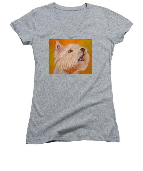 Westie Portrait Women's V-Neck T-Shirt (Junior Cut) by Tracey Harrington-Simpson