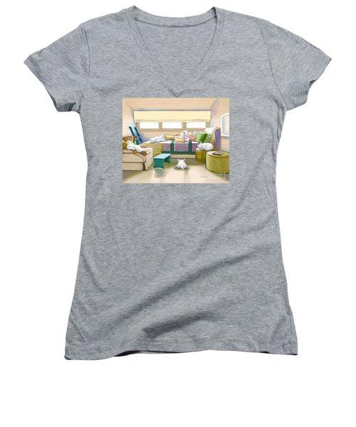 Westie Retreat  Women's V-Neck T-Shirt (Junior Cut) by Catia Cho