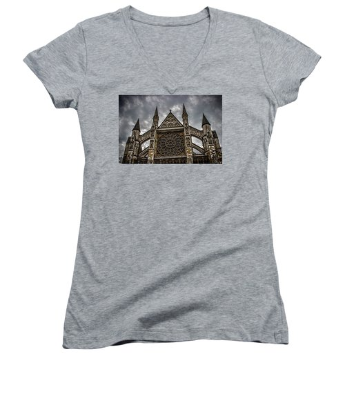 Westminster Abbey Women's V-Neck T-Shirt (Junior Cut) by Martin Newman