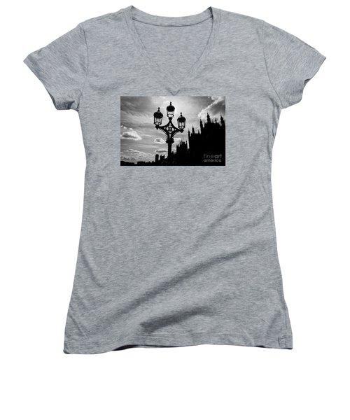 Women's V-Neck T-Shirt (Junior Cut) featuring the photograph Westminster Silhouette by Matt Malloy