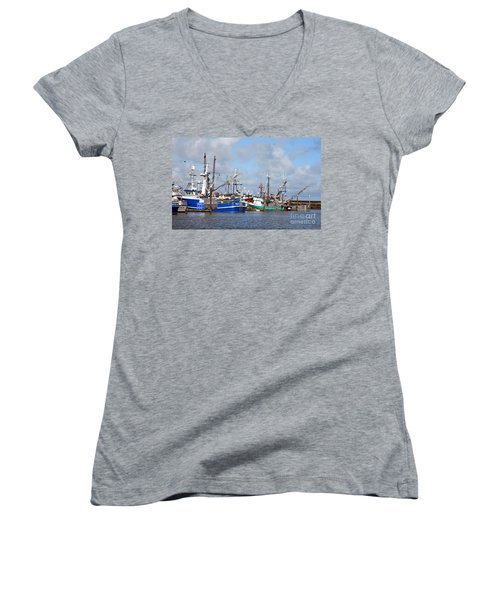 Westport Fishing Boats 2 Women's V-Neck T-Shirt (Junior Cut) by Chalet Roome-Rigdon