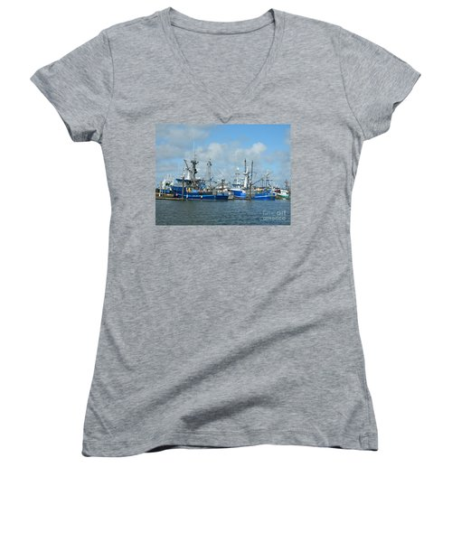 Westport Fishing Boats Women's V-Neck T-Shirt (Junior Cut) by Chalet Roome-Rigdon