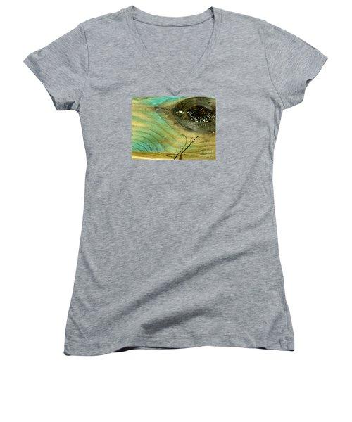 Whale Eye Women's V-Neck T-Shirt (Junior Cut) by Michael Cinnamond