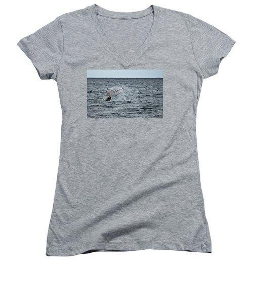 Women's V-Neck T-Shirt (Junior Cut) featuring the photograph Whale Of A Time by Miroslava Jurcik