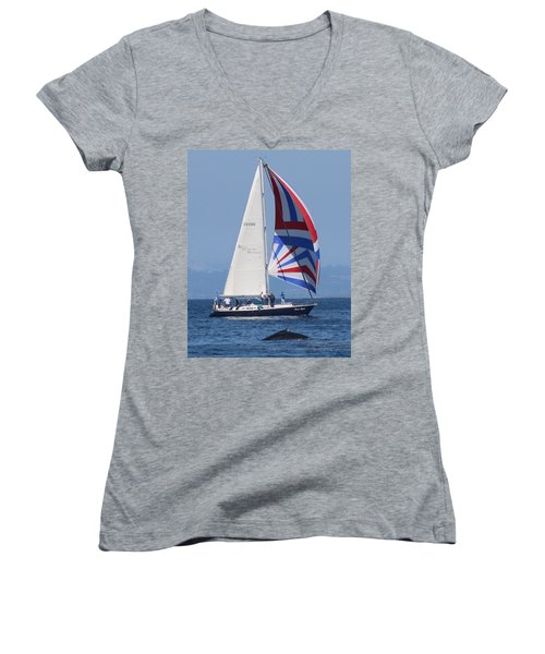 Whale Watching 1 Women's V-Neck