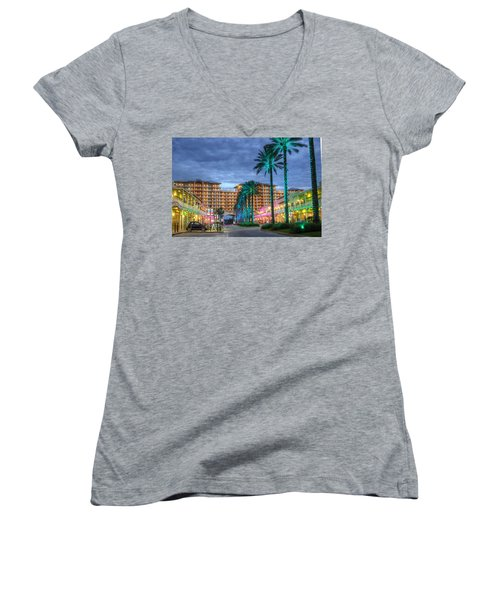 Wharf Turquoise Lighted  Women's V-Neck T-Shirt (Junior Cut) by Michael Thomas
