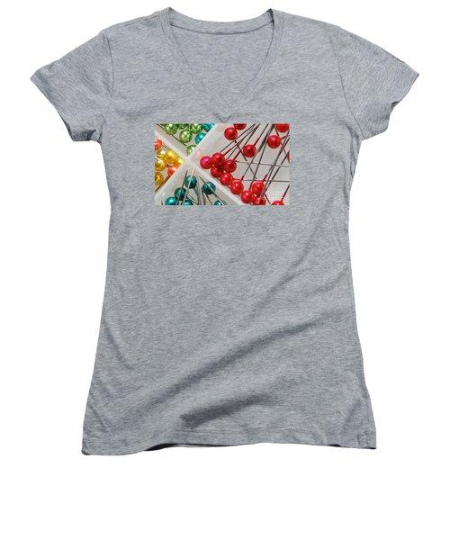 Women's V-Neck T-Shirt (Junior Cut) featuring the digital art What A Buncha Pinheads by Margie Chapman