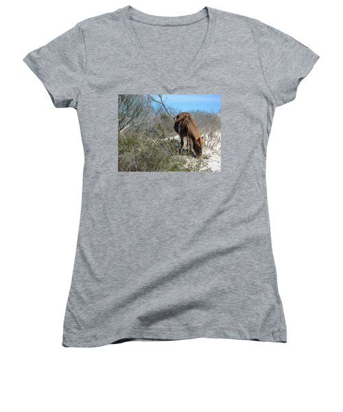 Women's V-Neck T-Shirt (Junior Cut) featuring the photograph What Do I See Here? by Photographic Arts And Design Studio