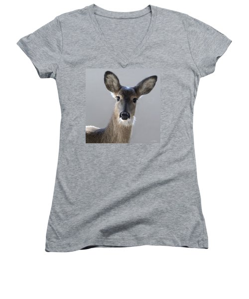 What Is Up With Mike? Women's V-Neck T-Shirt (Junior Cut) by Bill Stephens