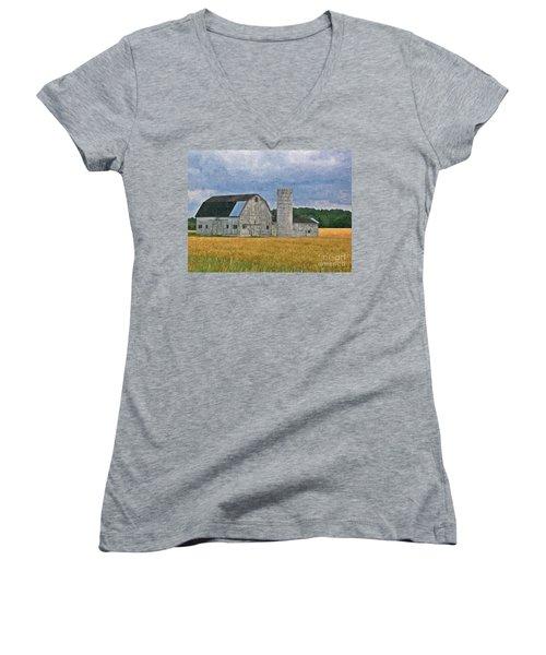 Wheat Field Barn Women's V-Neck (Athletic Fit)