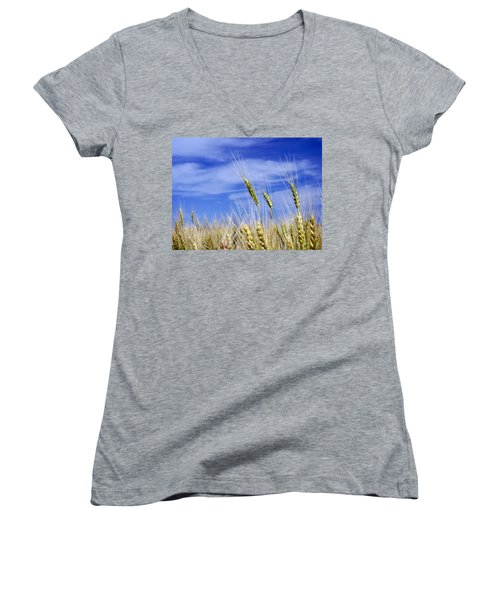 Women's V-Neck T-Shirt (Junior Cut) featuring the photograph Wheat Trio by Keith Armstrong