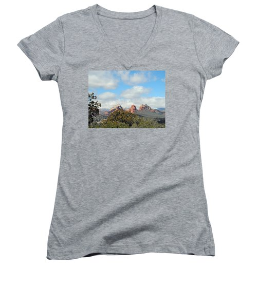 Women's V-Neck featuring the photograph When Far Clouds Depart by Lynda Lehmann