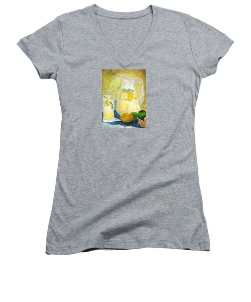 Women's V-Neck T-Shirt (Junior Cut) featuring the painting When Life Gives You Lemons by Angela Davies
