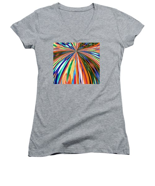 Where It All Began Abstract Women's V-Neck T-Shirt (Junior Cut) by Alec Drake