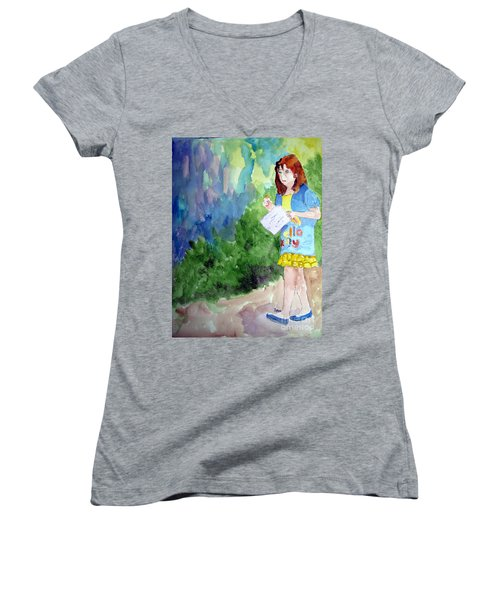 Women's V-Neck T-Shirt (Junior Cut) featuring the painting A Walk In The Woods by Sandy McIntire
