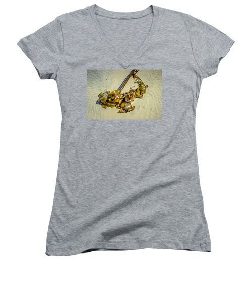 Women's V-Neck featuring the photograph Whipped Up On Shore  by Roxy Hurtubise