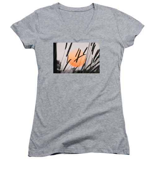 Women's V-Neck T-Shirt (Junior Cut) featuring the photograph Whispers by Charlotte Schafer