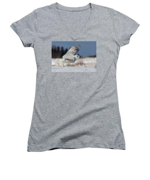 White Angel - Snowy Owl In Flight Women's V-Neck T-Shirt